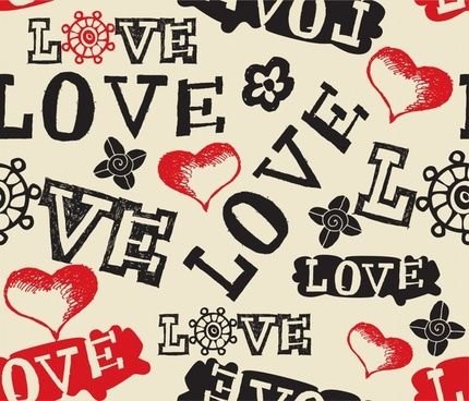 valentines background classical messy texts hearts decor
