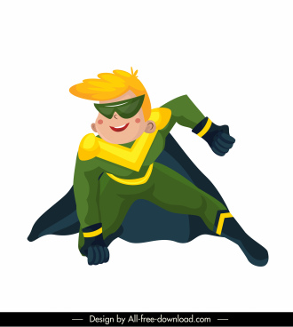 super hero icon colored cartoon character sketch