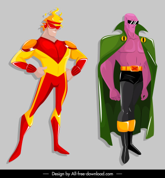 super hero icons powerful costumes cartoon characters