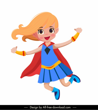 super heroin icon joyful girl sketch cartoon character