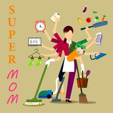 super mom concept illustration with woman and works