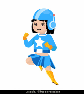 super woman icon girl sketch cute cartoon character