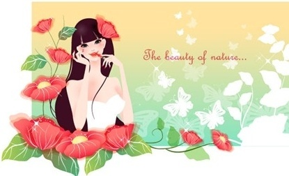 Super-beautiful female pattern vector