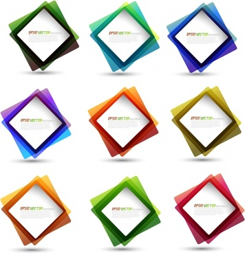 label templates modern colorful transparent frames motion decor