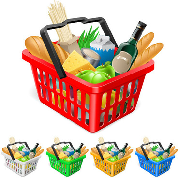 supermarket shopping elements vector