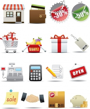 supermarket shopping icons vector