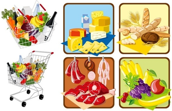 supermarket shopping theme vector