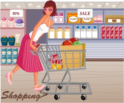 shopping background woman supermarket icons cartoon design