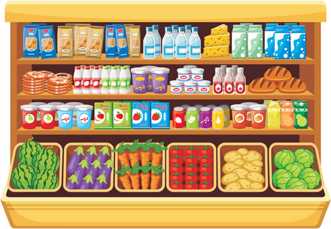 supermarket showcase and food vector set