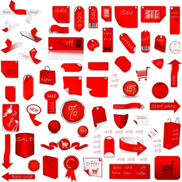 christmas sale tags collection red white shapes sketch