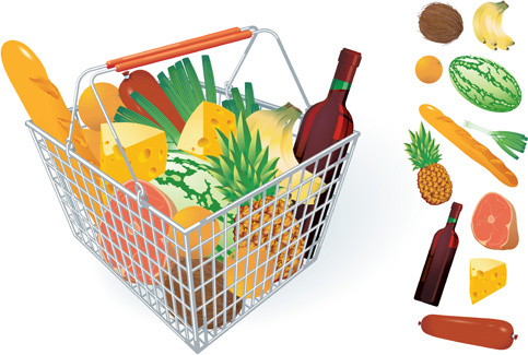 supermarkets shopping basket with food vector