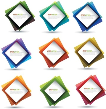square frames collection colorful design overlapping style