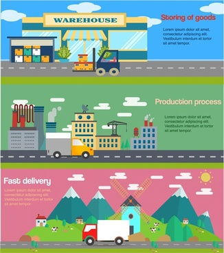 supply chain concepts illustration with processes