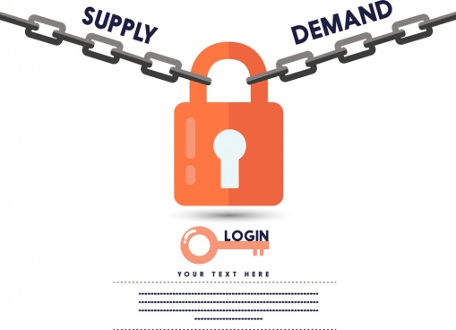 supply demand solution concept locking key chain icons