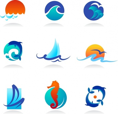 maritime icons colored modern flat sea elements sketch