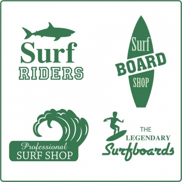 surfboard shop logotypes green silhouette design
