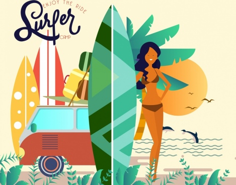 surfer camp advertisement bikini girl sea scene icons