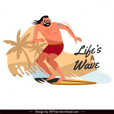 surfing activity banner dynamic cartoon sketch