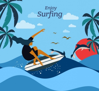 surfing advertising banner surfer sea waves cartoon design