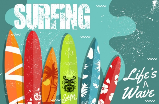 surfing advertising colorful surfboard icons retro design
