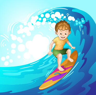 surfing child vector graphics