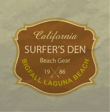 surfing club logo classical brown design texts decor