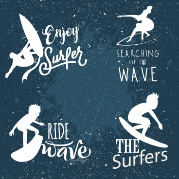 surfing logos white silhouette retro design