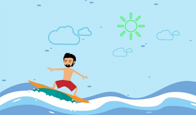 surfing man theme colorful cartoon style design