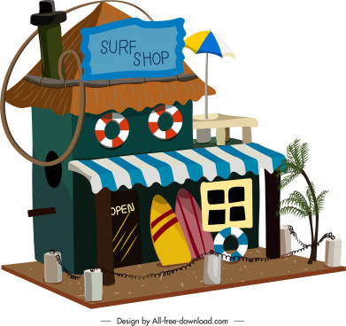 surfing shop template colorful 3d sketch