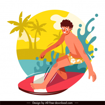 surfing sport icon funny cartoon sketch