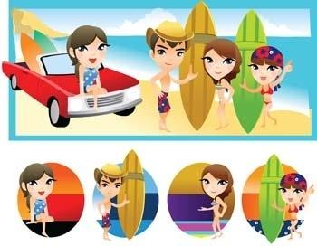 surfing sport vector 8