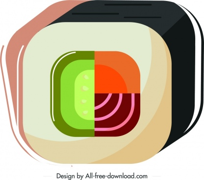 sushi cuisine icon 3d colorful geometric design