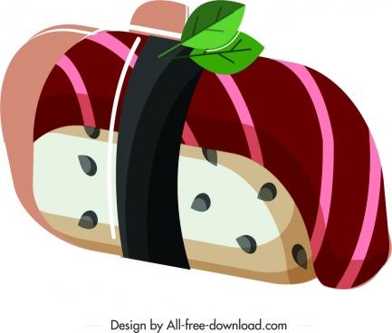 sushi cuisine icon classical colored decor