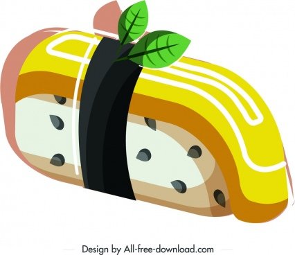 sushi cuisine icon colorful 3d design
