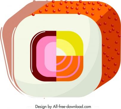 sushi cuisine icon colorful closeup geometric design