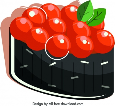 sushi cuisine icon red caviar decor shiny decor