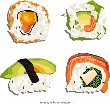 sushi food icons bright colored classical sketch