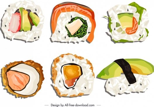 sushi food icons bright colorful flat sketch