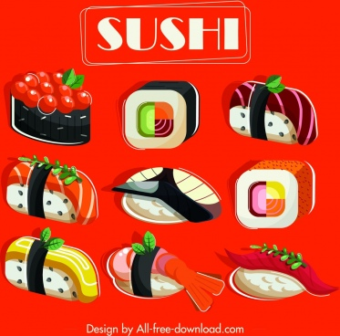 sushi menu cover template colorful classical design