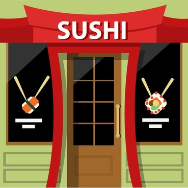 sushi restaurant facade design with colored style