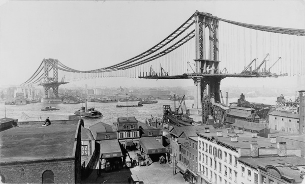 suspension bridge manhattan bridge construction