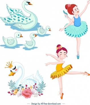 swan ballet design elements cute cartoon characters