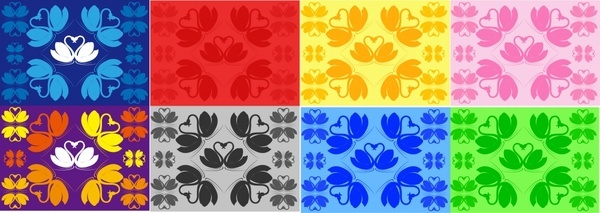 hearts pattern templates collection colorful flat sketch