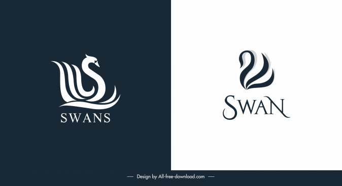 swan logo templates dark bright flat sketch