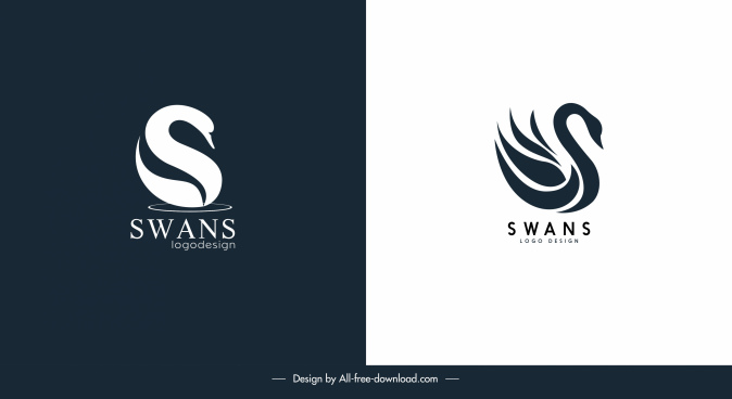 swan logo templates flat sketch dark bright decor