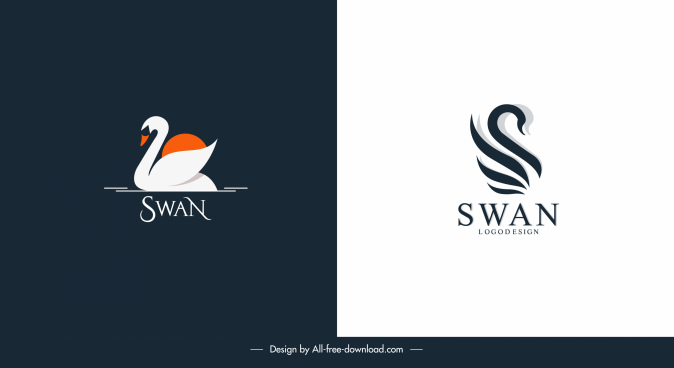 swan logo templates simple flat handdrawn sketch