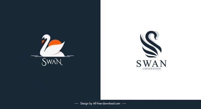 swan logo templates simple flat handdrawn sketch