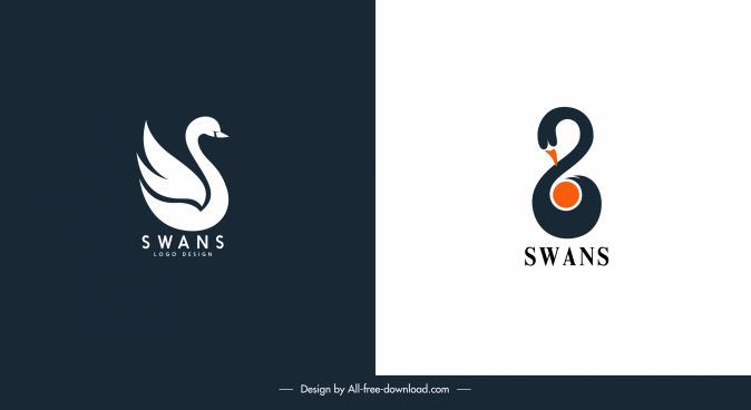 swan logotypes flat dark bright sketch