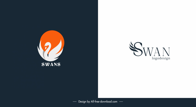 swan logotypes flat shapes texts sketch