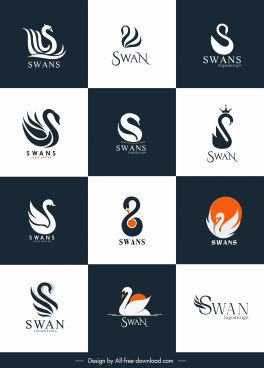 swan logotypes simple flat swirled sketch